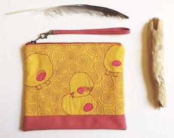 Yellow wristlet clutch, night out clutch, embroidered zipper pouch, fashion wristlet, boho clutch bag, luxury wristlet, design evening bag