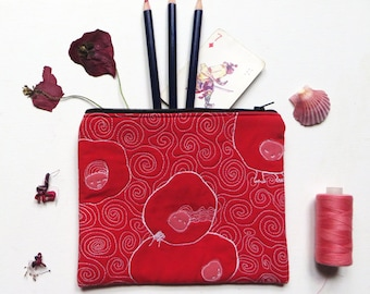 Cute red quilted zipper pouch, kawaii organizer, Makeup zipper pouch storage, embroidered quilted pouch, colorful bridesmaid gift