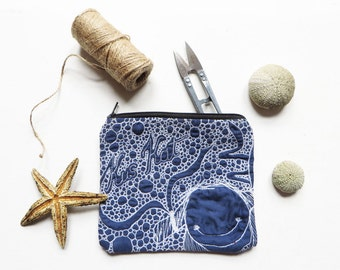 Quilted mermaid zipper pouch, textile art purse, embroidered zipper pouch, OOAK, pocket pouch, camera bag, blue coin purse, Organizer Wallet
