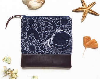 Mermaid embroidered zipper clutch pouch, cute vegan quilted pouch clutch, vegan leather pouch, blue evening clutch vegan night out handbag