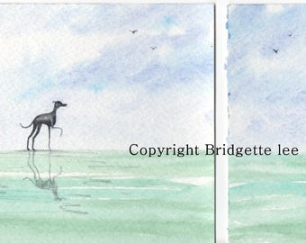 Pair  of original paintings Whippet greyhound ... a pair of Watercolor Paintings