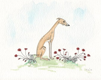 ORIGINAL PAINTING of a Whippet greyhound ...Super Skinny Sight hound, a Watercolor and Ink Painting