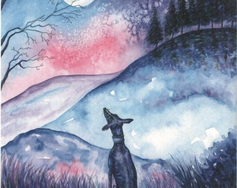 A4 whippet greyhound painting....Moon....A Watercolor and Ink Painting