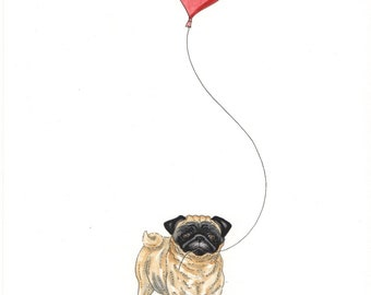 ORIGINAL PAINTING of a Pug ... a Watercolor and Ink Painting