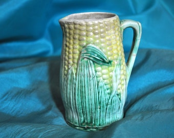 Antique majolica corn pitcher, Majolica pottery, Vintage majolica pitcher, fabulous addition collection, #103