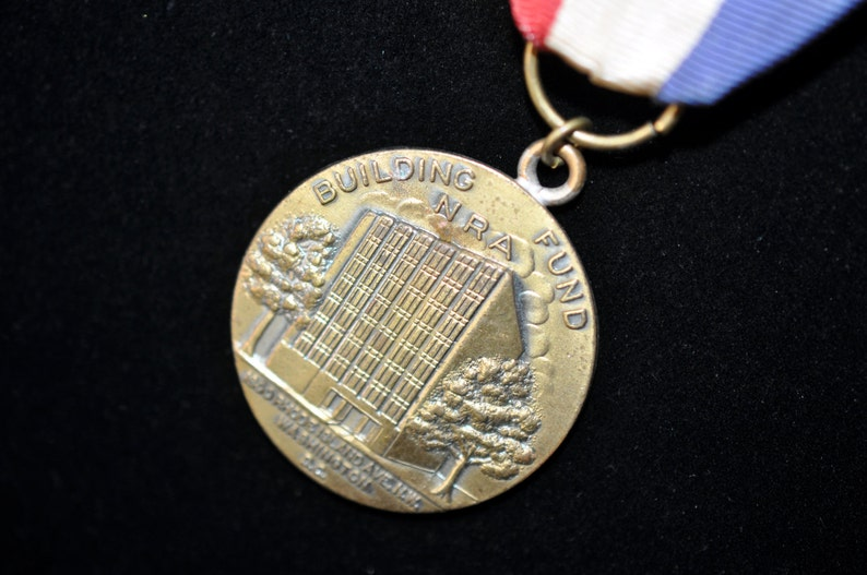 NRA Building Fund Medal Red white blue #242 Collectible National Rifle Association Medal