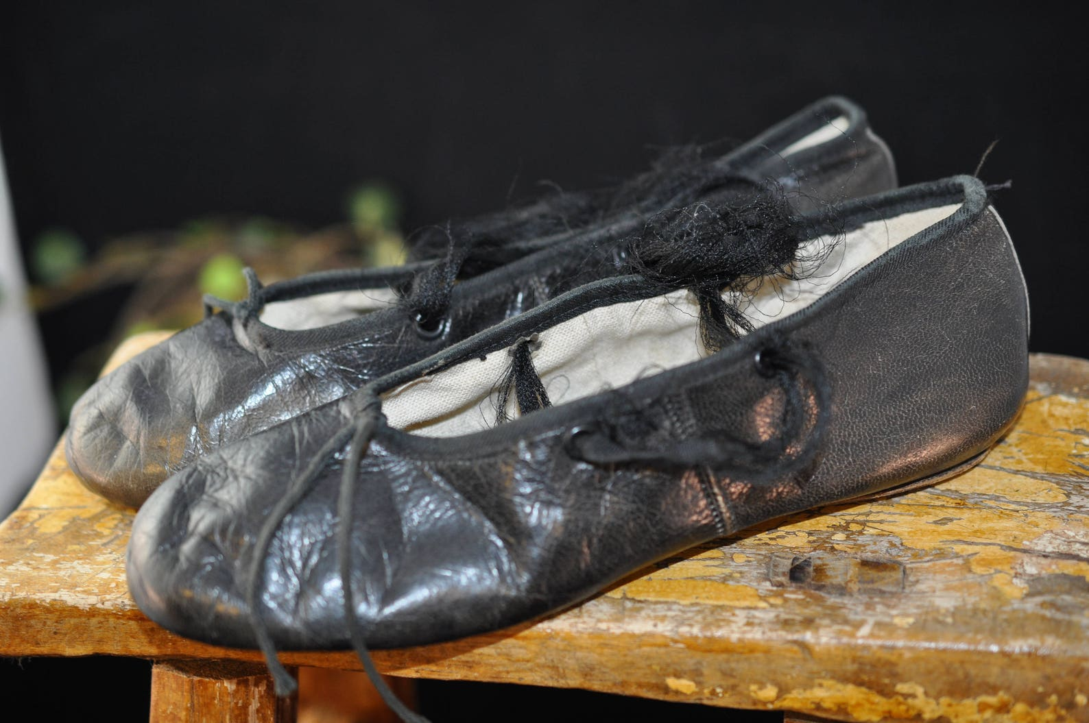 vintage leather ballet shoes, 1950's antique shoes, children clothing, size 13 1/2, great for display, leather bottom, black
