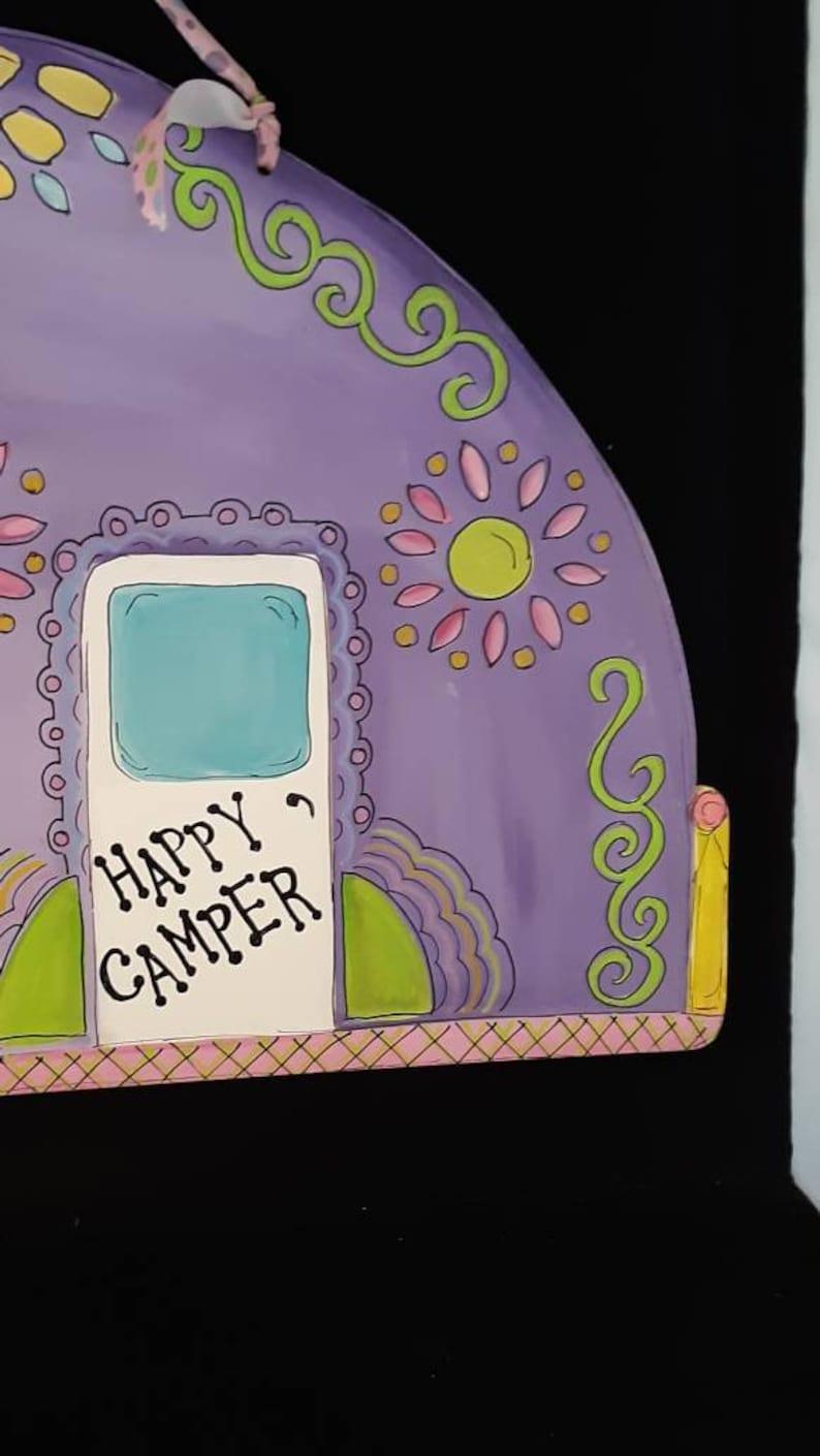 child Kids Girls door hanger Great Gift Idea Purple Camper Door Hanger Hand Painted Retro Camper Door Hanger We have more