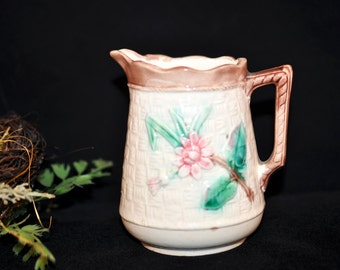 Vintage Majolica Pitcher, Majolica pottery creamer, Antique majolica, beautiful creamer, #910