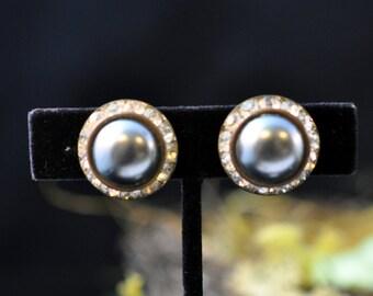 Rhinestone Earrings, Bridal Wedding Jewelry, bridesmaids, clip on, findings, Antique, #219