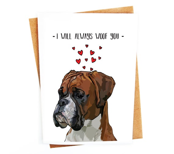 Funny Boxer Dog Card Love Couples Birthday Card Etsy