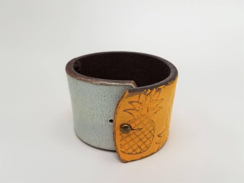 Boho Cuff Yellow Pineapple Leather Cuff Worn Leather Cuff Pineapple Cuff Leather Belt Bracelet Pineapple Bracelet Pineapple Jewelry
