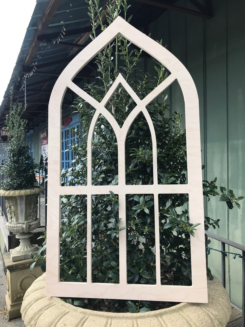 Wood Cathedral / Gothic Pointed Window with Inset Pointed Arch