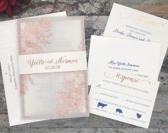 Vellum Jacket Rose Gold Foil Floral Wedding Invitation Invite Pocket Wrap Envelope Anniversary Party Quinceañera Sweet 16 Suite