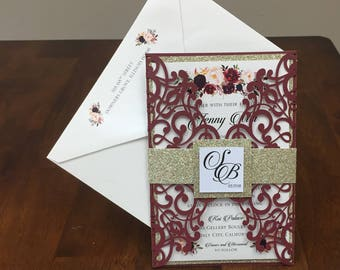 Beautiful Marsala Burgundy shimmer wedding invitation set: Includes laser cut pocket, gold glitter belly band, printed invite & envelope