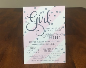 Qty. 25 Baby Shower Invitations Traditional Girl Baby Shower Invites Pink Stripe Baby Girl Shower Invitation Pink Floral Baby Girl Shower