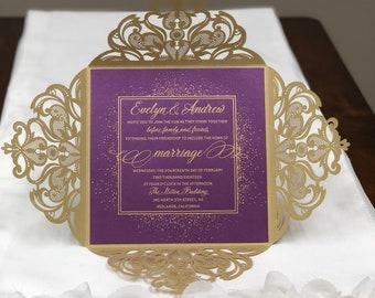 Couleurs plus délicate dentelle Laser coupe carrée mariage Invitations fard à joues argent mariage violet Laser mariage traditionnel invite au Laser coupe