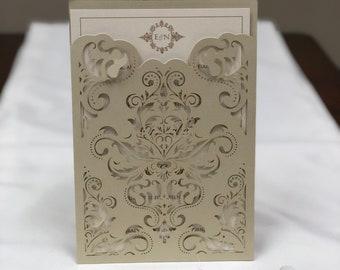 Plus de couleurs - Damas Laser Cut mariage Invitations poche faire-part Die Cut Laser Cut marine Blush ivoire or découpé au Laser