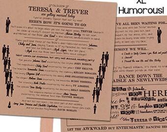 funny wedding program fan humorous wedding program xl 2 sheets