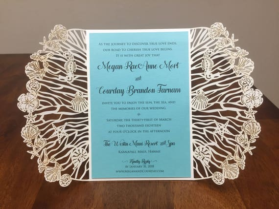 Ivory Beach Sea Themed Laser Cut Wedding Invitations Etsy