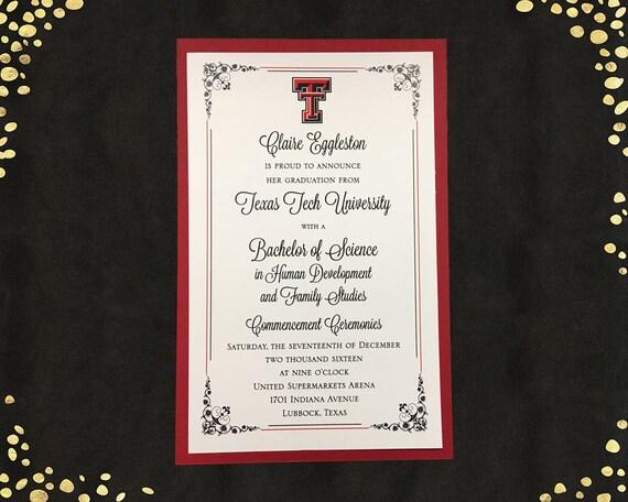 College graduation invitation texas tech college graduation etsy image 0 filmwisefo