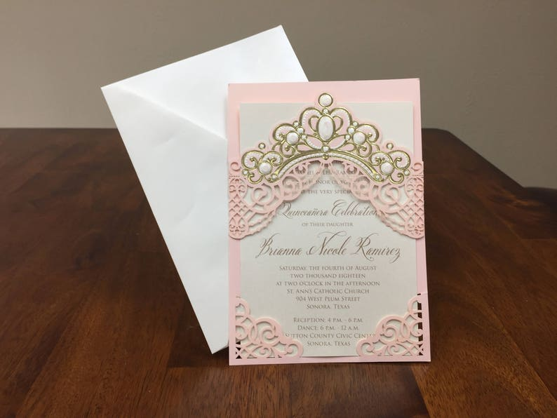 Laser Cut Quinceanera Invitations Tiara Sweet 15 Crown Invites Invitation