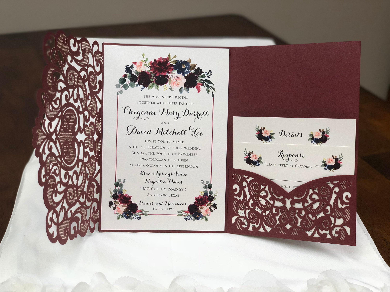 Laser Cut Out Wedding Invitations: Laser Cut Wedding Invitations Marsala Burgundy Pocket