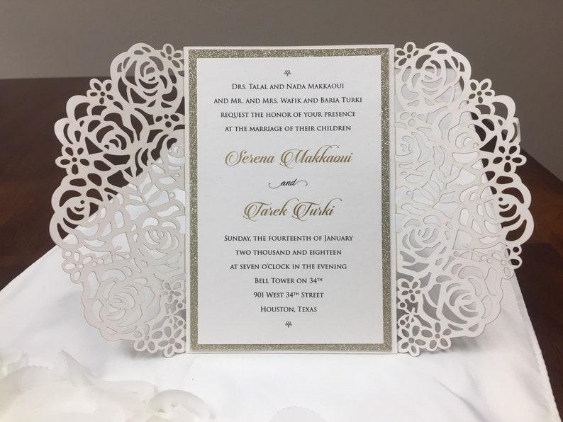 Rose Gold Glitter Laser Cut Wedding Invitations Gold Glitter Wedding Die Cut Black Glitter Laser Cut Silver Glitter Rose Wedding Invites