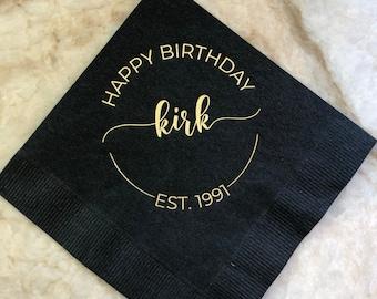 Custom Foil Birthday Napkins, Personalized Cocktail Napkins, Graduation, Birthday, Wedding, Logo Napkins, Corporate Beverage or Luncheon