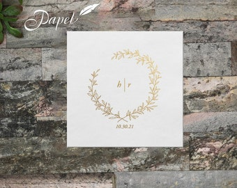 Wreath Wedding Napkins, Personalized Eucalyptus Initial Cocktail Napkins, Line Art, Beverage or Luncheon, White or Ecru, Lots of foil colors