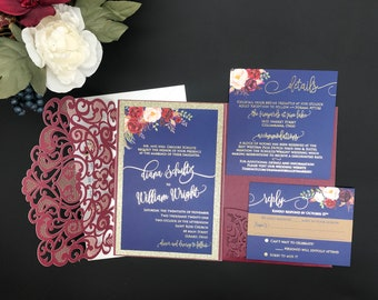 Burgundy Marsala Graceful Heart Gold Foil Navy Champagne Gold Glitter Wedding Invitation Pocket Wedding invitation Die Cut Laser Cut Floral