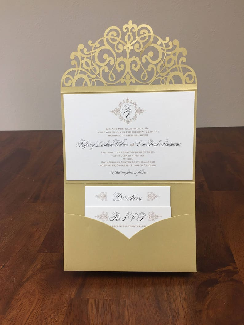 Horizontal Laser Cut Wedding Invitations Pocket Tri Fold Etsy