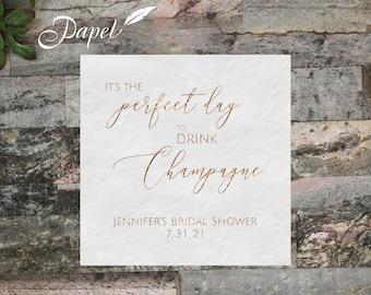 Personalized Bridal Shower Cocktail Napkins, Foil printed wedding shower white or ecru napkins, Beverage, Luncheon, Custom Napkins