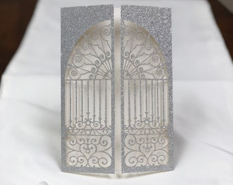 Beautiful Glitter Door to Happiness Laser Cut Pocket ONLY - DIY Wedding - Pocket Jacket - no inserts