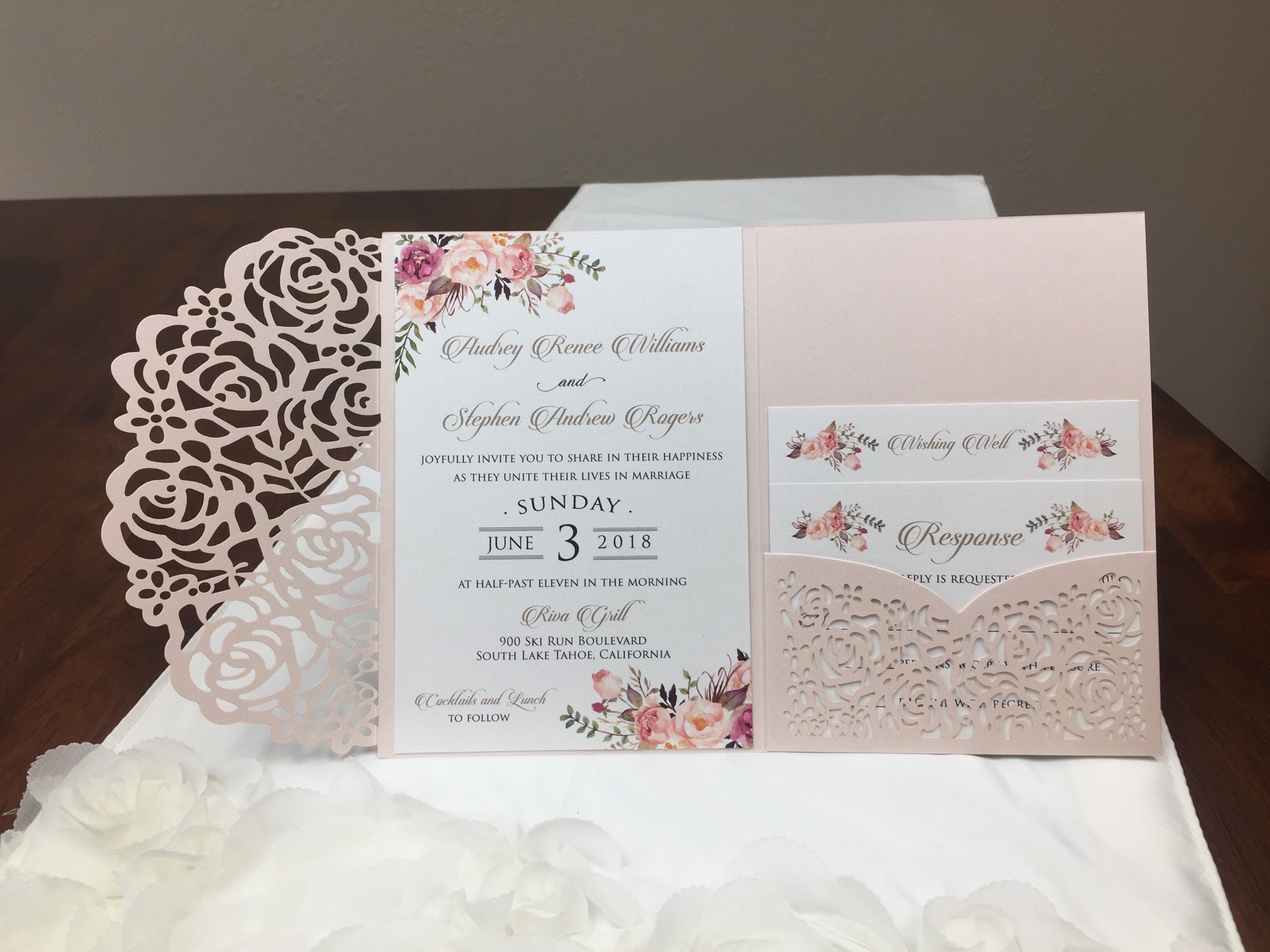 Photo Pocket Wedding Invitations: Gorgeous Blush Shimmer Laser Cut Wedding Invitations