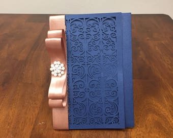 More Colors Gorgeous Scroll Laser Cut Wedding Invitations with Rose Gold Ribbon & Brooch Optional Accent  - Pocket Blush Wedding Invitations