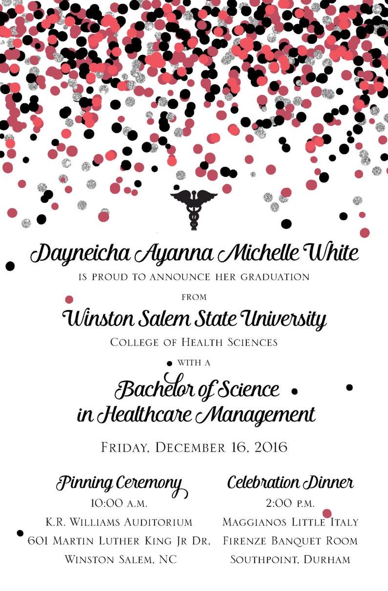25 College Graduation Invitations Announcements Nursing Health Science Bachelor/'s Degree Confetti Announcements College Graduation Qty