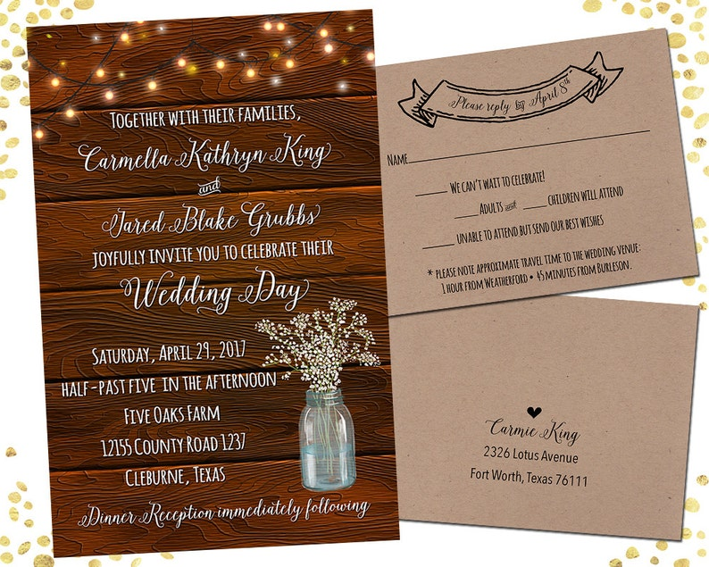 Rustic Mason Jar Wedding Invitations Rustic Wedding Invitation Sets Custom Wedding Invitation Set