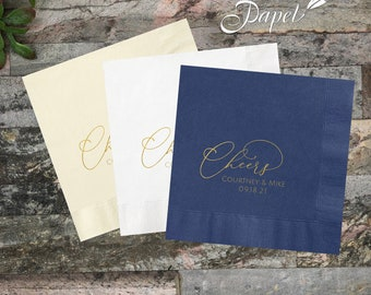 Custom Foil Cheers Wedding  Napkins, Personalized Cocktail Napkins, Logo Napkins, Beverage or Luncheon, Lots of napkin and foil colors