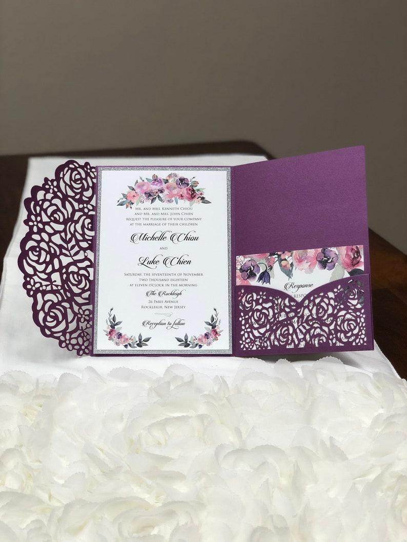 Gorgeous Purple Shimmer Laser Cut Wedding Invitations Pocket Etsy