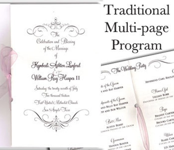 traditional wedding programs 8 pages classic wedding program etsy