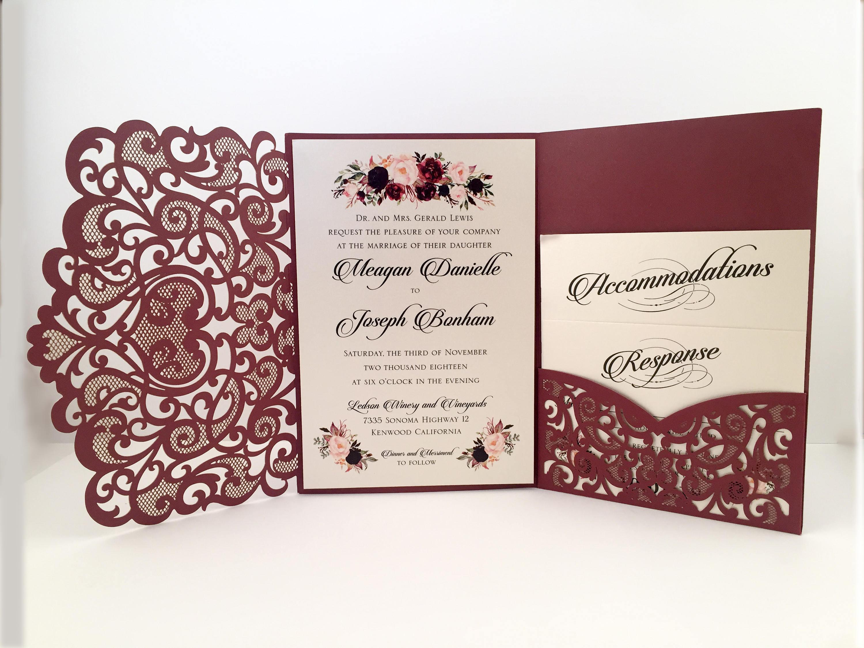 Laser Cut Wedding Invitations Marsala Burgundy Pocket Wedding