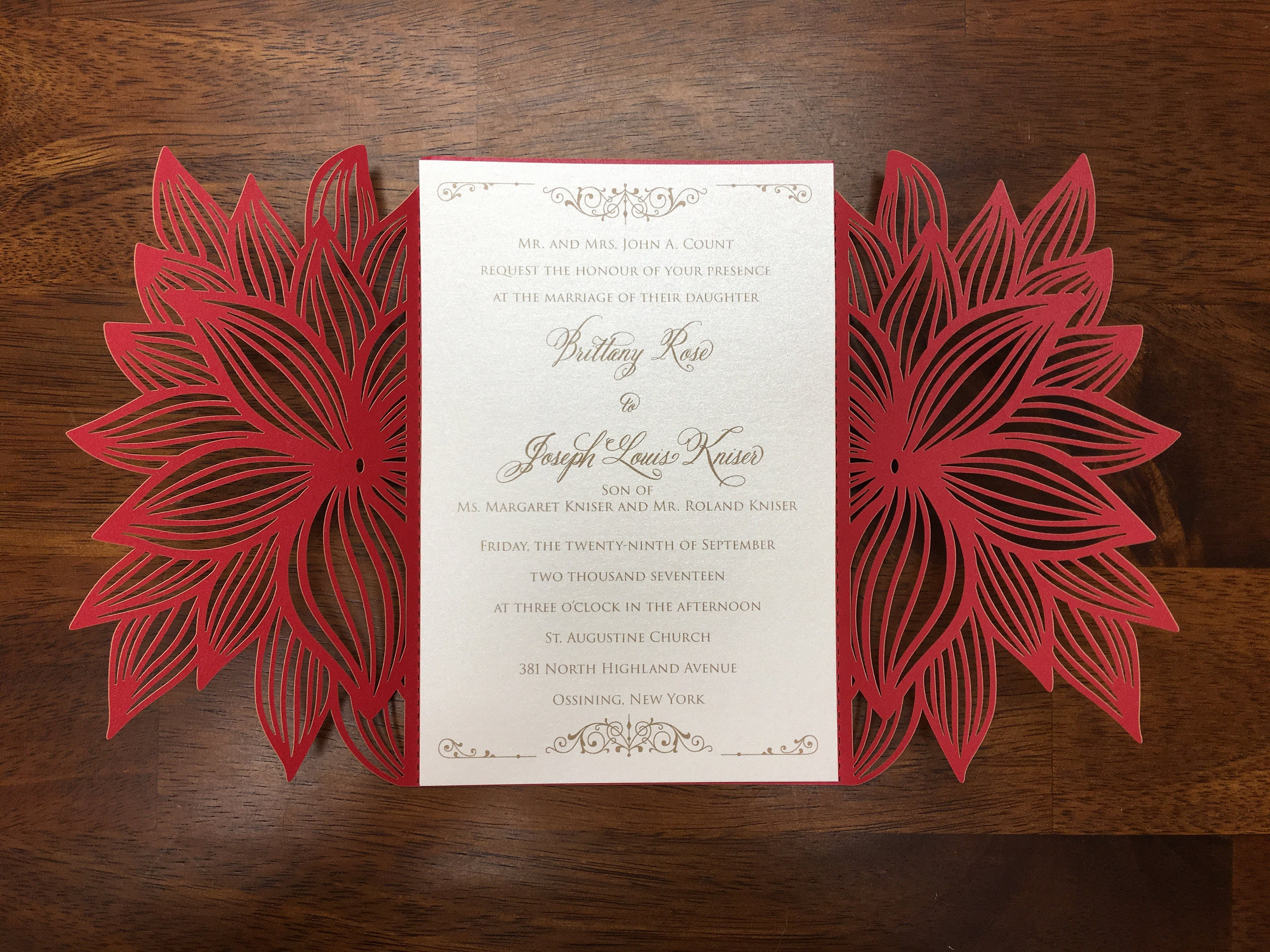 Poinsettia Christmas Laser Cut Wedding Party Invitations | Etsy