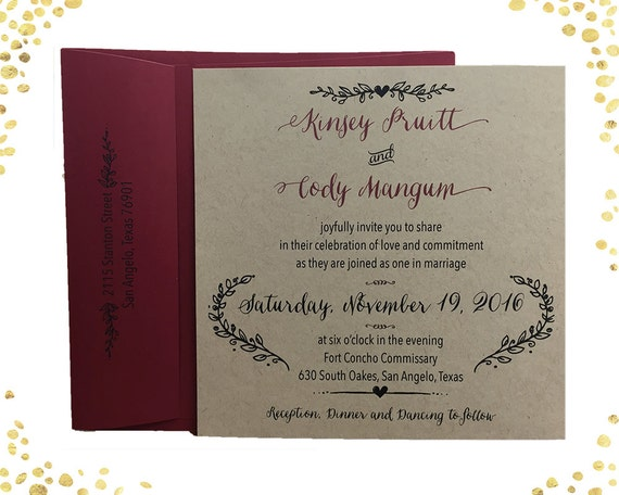 Qty 50 Square Kraft Rustic Wedding Invitation Sets Wedding Etsy