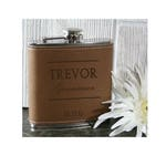 Custom Leather & Stainless Steel Engraved Flask.  Perfect gift for Valentine's Day, Weddings, Bachelor Parties, Grooms Men
