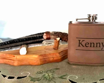 Custom Leather & Stainless Steel Engraved Flask.  Perfect gift for Valentine's Day!