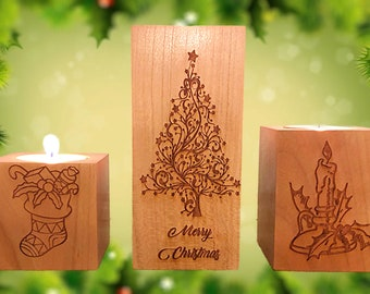 Custom Design Hard Wood Votive Candle Holders, Laser Engraved,