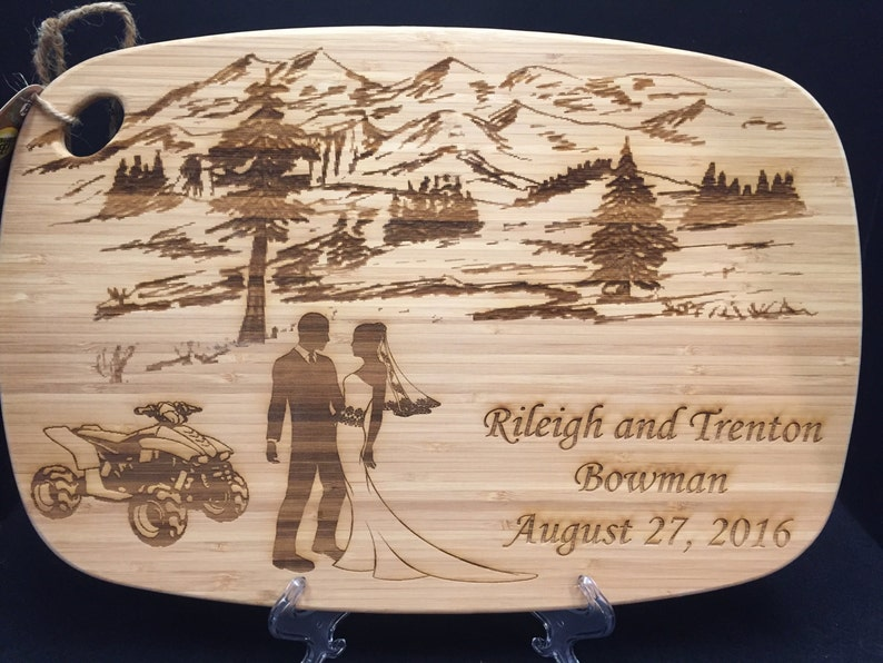 Personalized Bamboo Cutting Board Wedding Present image 0