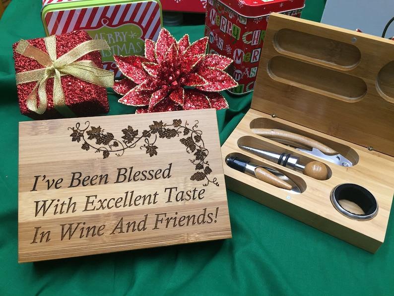 FREE SHIPPING  Custom Engraved Eco Friendly Bamboo Wine Tools image 0