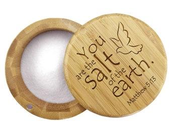 Custom Design Bamboo Salt Box Perfect Gift for any Kitchen